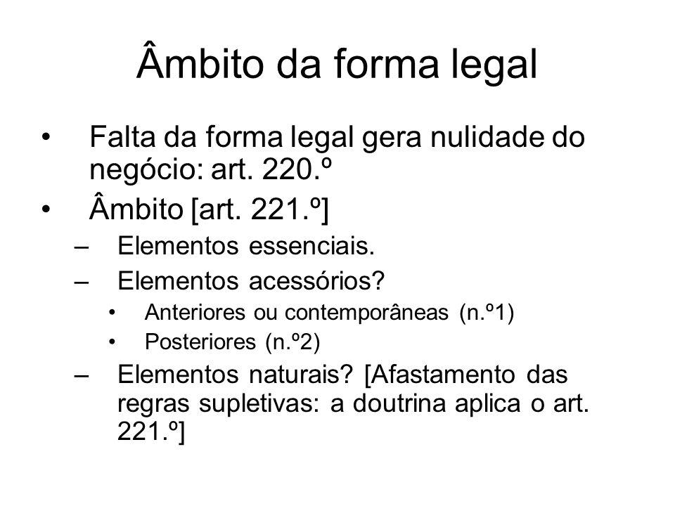 Âmbito da forma legal Falta da forma legal gera nulidade do negócio: art. 220.º. Âmbito [art. 221.º]